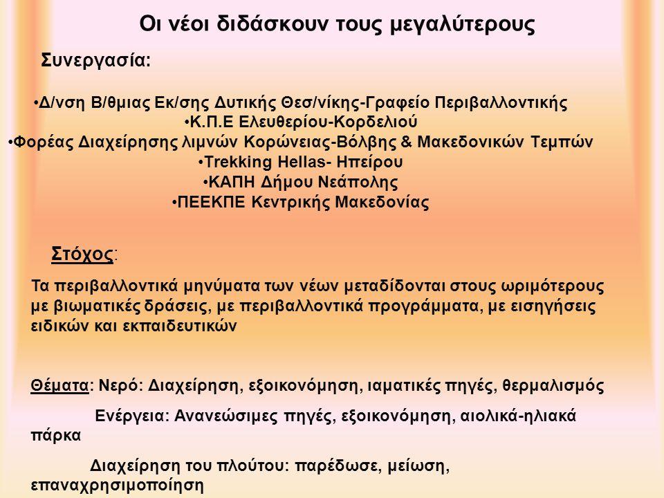Οι νέοι διδάσκουν τους μεγαλύτερους Δ/νση Β/θμιας Εκ/σης Δυτικής Θεσ/νίκης-Γραφείο Περιβαλλοντικής Κ.Π.Ε Ελευθερίου-Κορδελιού Φορέας Διαχείρησης λιμνών Κορώνειας-Βόλβης & Μακεδονικών Τεμπών Trekking Hellas- Ηπείρου ΚΑΠΗ Δήμου Νεάπολης ΠΕΕΚΠΕ Κεντρικής Μακεδονίας Συνεργασία: Τα περιβαλλοντικά μηνύματα των νέων μεταδίδονται στους ωριμότερους με βιωματικές δράσεις, με περιβαλλοντικά προγράμματα, με εισηγήσεις ειδικών και εκπαιδευτικών Θέματα: Νερό: Διαχείρηση, εξοικονόμηση, ιαματικές πηγές, θερμαλισμός Ενέργεια: Ανανεώσιμες πηγές, εξοικονόμηση, αιολικά-ηλιακά πάρκα Διαχείρηση του πλούτου: παρέδωσε, μείωση, επαναχρησιμοποίηση Στόχος: