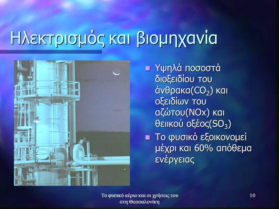 Το φυσικό αέριο και οι χρήσεις του στη Θεσσαλονίκη 10 Ηλεκτρισμός και βιομηχανία Υψηλά ποσοστά διοξειδίου του άνθρακα(CO 2 ) και οξειδίων του αζώτου(Ν