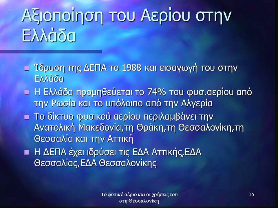 Το φυσικό αέριο και οι χρήσεις του στη Θεσσαλονίκη 15 Αξιοποίηση του Αερίου στην Ελλάδα Ίδρυση της ΔΕΠΑ το 1988 και εισαγωγή του στην Ελλάδα Ίδρυση τη