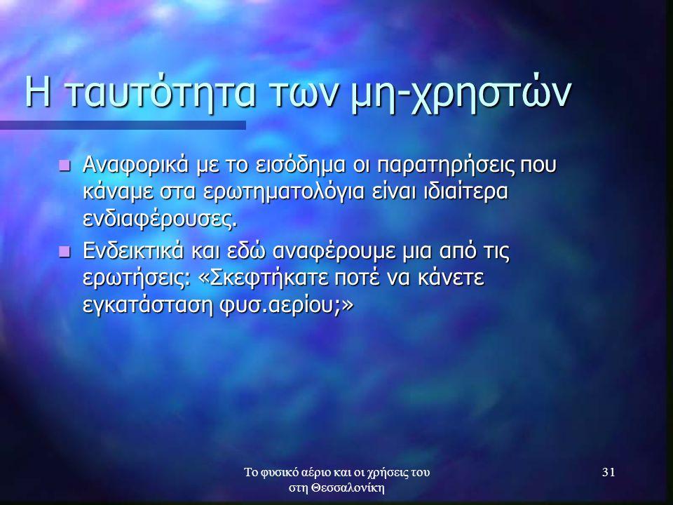 Το φυσικό αέριο και οι χρήσεις του στη Θεσσαλονίκη 31 Η ταυτότητα των μη-χρηστών Αναφορικά με το εισόδημα οι παρατηρήσεις που κάναμε στα ερωτηματολόγι