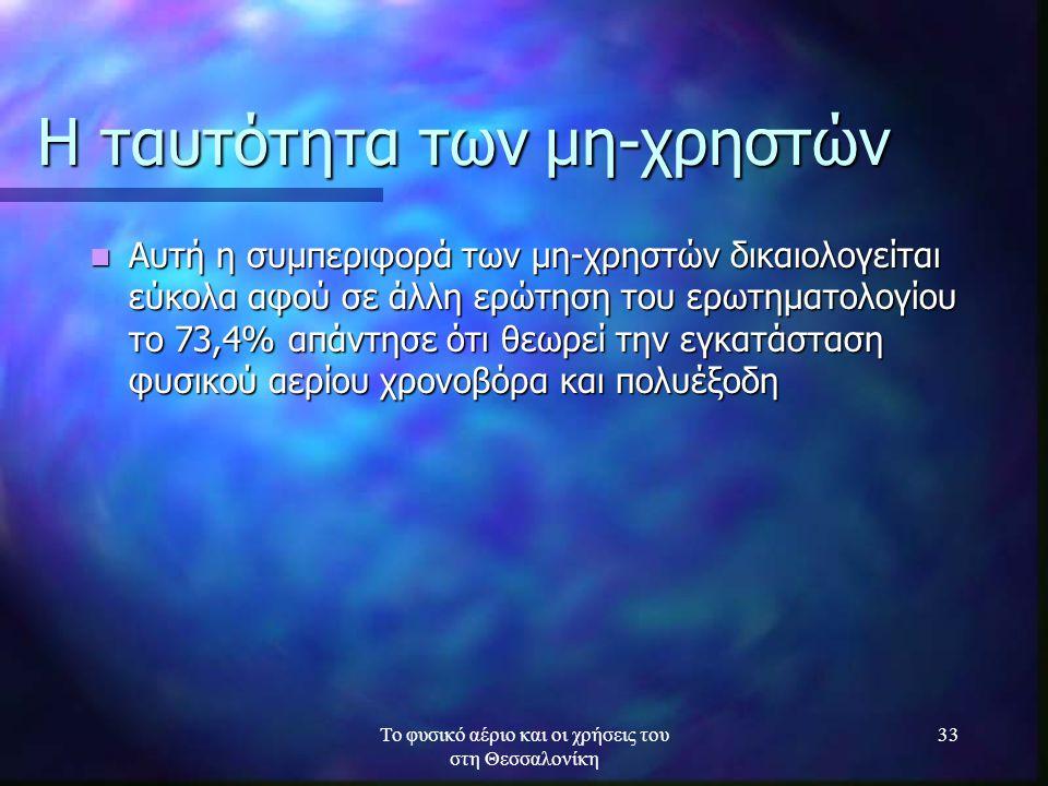 Το φυσικό αέριο και οι χρήσεις του στη Θεσσαλονίκη 33 Η ταυτότητα των μη-χρηστών Αυτή η συμπεριφορά των μη-χρηστών δικαιολογείται εύκολα αφού σε άλλη