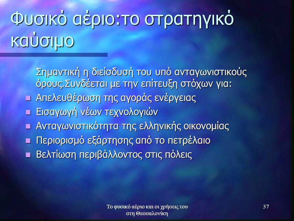 Το φυσικό αέριο και οι χρήσεις του στη Θεσσαλονίκη 37 Φυσικό αέριο:το στρατηγικό καύσιμο Σημαντική η διείσδυσή του υπό ανταγωνιστικούς όρους.Συνδέεται