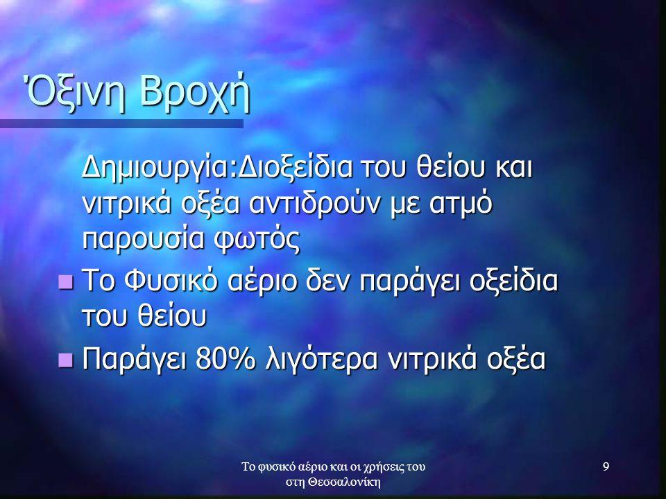 Το φυσικό αέριο και οι χρήσεις του στη Θεσσαλονίκη 10 Ηλεκτρισμός και βιομηχανία Υψηλά ποσοστά διοξειδίου του άνθρακα(CO 2 ) και οξειδίων του αζώτου(ΝΟx) και θειικού οξέος(SO 3 ) Το φυσικό εξοικονομεί μέχρι και 60% απόθεμα ενέργειας