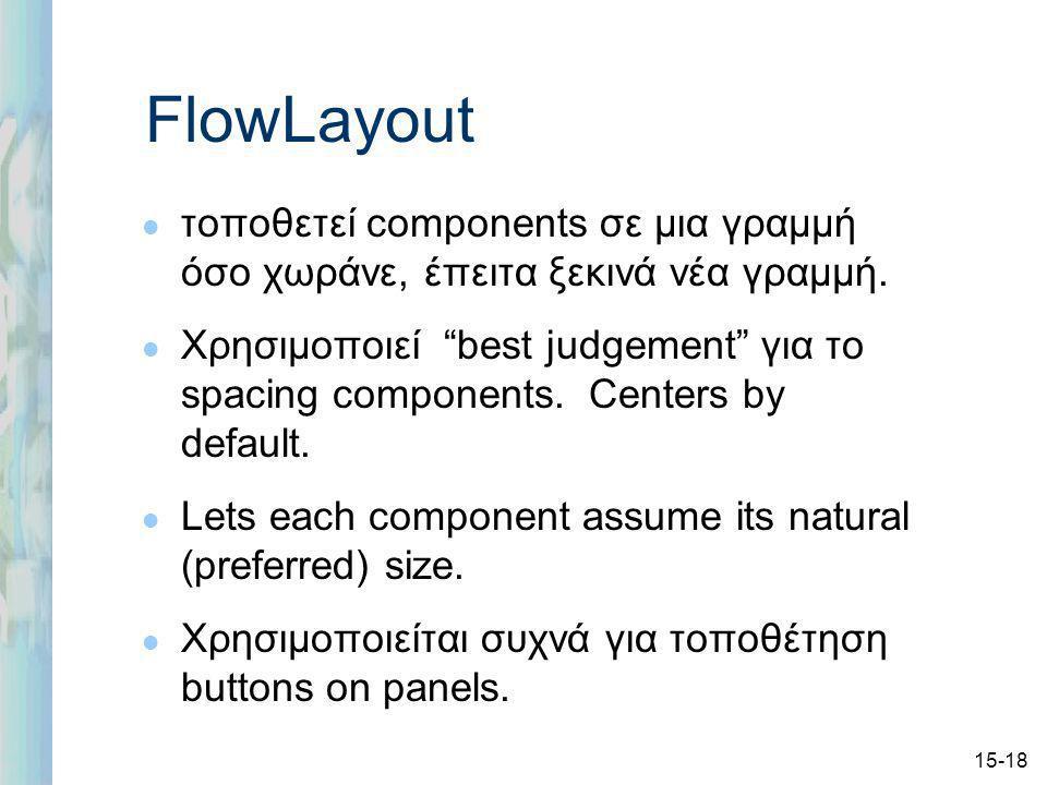 15-18 FlowLayout l τοποθετεί components σε μια γραμμή όσο χωράνε, έπειτα ξεκινά νέα γραμμή.