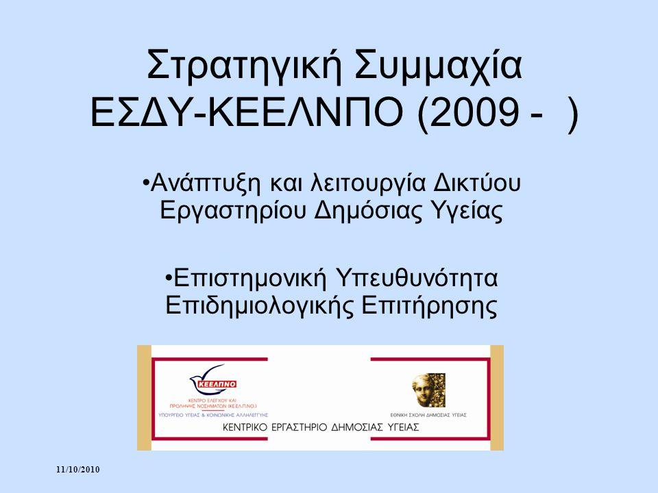 11/10/2010 Στρατηγική Συμμαχία ΕΣΔΥ-ΚΕΕΛΝΠΟ (2009 - ) Ανάπτυξη και λειτουργία Δικτύου Εργαστηρίου Δημόσιας Υγείας Επιστημονική Υπευθυνότητα Επιδημιολο