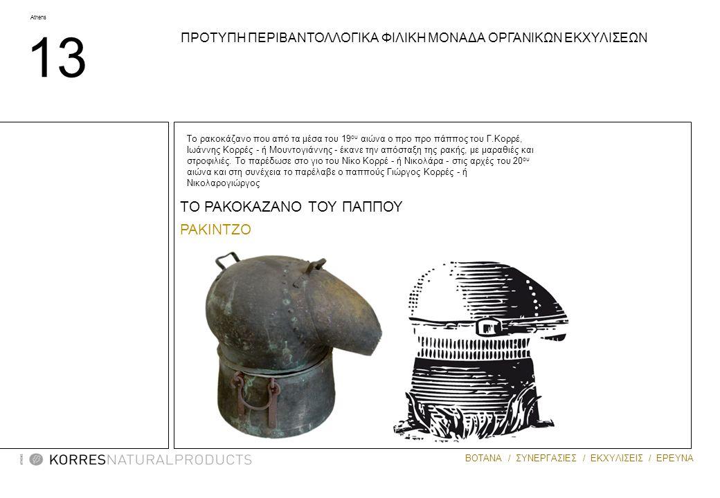 Athens 13 ΒΟΤΑΝΑ / ΣΥΝΕΡΓΑΣΙΕΣ / ΕΚΧΥΛΙΣΕΙΣ / ΕΡΕΥΝΑ ΤΟ ΡΑΚΟΚΑΖΑΝΟ ΤΟΥ ΠΑΠΠΟΥ ΡΑΚΙΝΤΖΟ Το ρακοκάζανο που από τα μέσα του 19 ου αιώνα ο προ προ πάππος του Γ.Κορρέ, Ιωάννης Κορρές - ή Μουντογιάννης - έκανε την απόσταξη της ρακής, με μαραθιές και στροφιλιές.