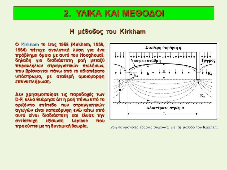 Ο Kirkham το έτος 1958 (Kirkham, 1958, 1964) πέτυχε αναλυτική λύση για ένα πρόβλημα όμοιο με αυτό του Hooghoudt, δηλαδή για δισδιάστατη ροή μεταξύ παραλλήλων στραγγιστικών σωλήνων, που βρίσκονται πάνω από το αδιαπέρατο υπόστρωμα, με σταθερή ομοιόμορφη επαναπλήρωση.
