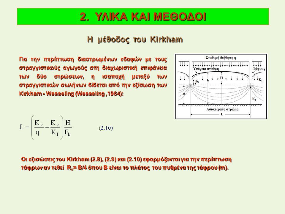 Για την περίπτωση διαστρωμένων εδαφών με τους στραγγιστικούς αγωγούς στη διαχωριστική επιφάνεια των δύο στρώσεων, η ισαποχή μεταξύ των στραγγιστικών σωλήνων δίδεται από την εξίσωση των Kirkham - Wesseling (Wesseling,1964): 2.