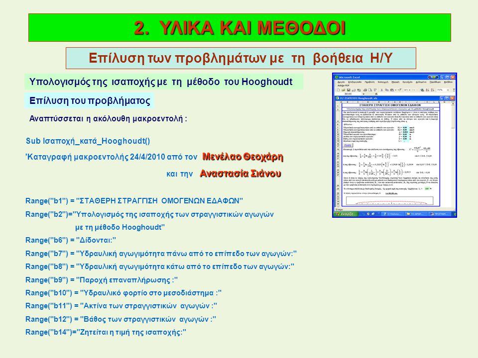 2. ΥΛΙΚΑ ΚΑΙ ΜΕΘΟΔΟΙ Επίλυση των προβλημάτων με τη βοήθεια Η/Υ Υπολογισμός της ισαποχής με τη μέθοδο του Hooghoudt Επίλυση του προβλήματος Αναπτύσσετα