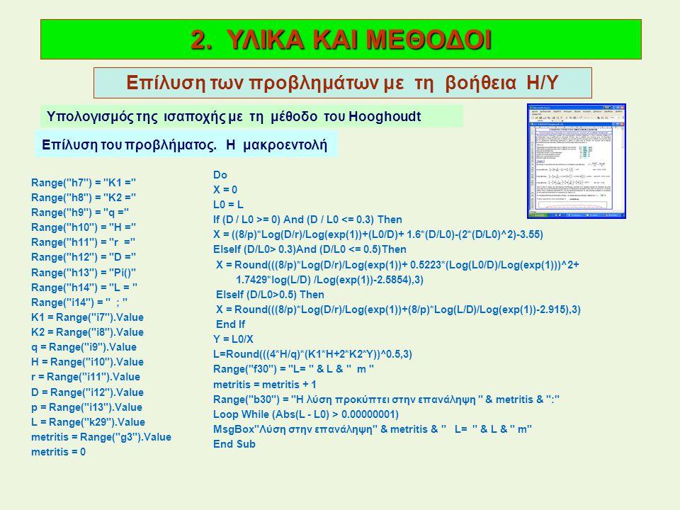 2. ΥΛΙΚΑ ΚΑΙ ΜΕΘΟΔΟΙ Επίλυση των προβλημάτων με τη βοήθεια Η/Υ Υπολογισμός της ισαποχής με τη μέθοδο του Hooghoudt Επίλυση του προβλήματος. Η μακροεντ