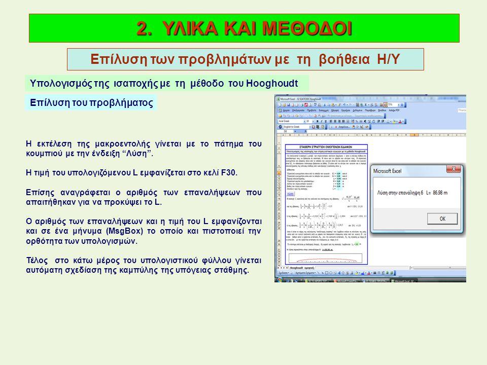 2. ΥΛΙΚΑ ΚΑΙ ΜΕΘΟΔΟΙ Επίλυση των προβλημάτων με τη βοήθεια Η/Υ Υπολογισμός της ισαποχής με τη μέθοδο του Hooghoudt Επίλυση του προβλήματος Η εκτέλεση
