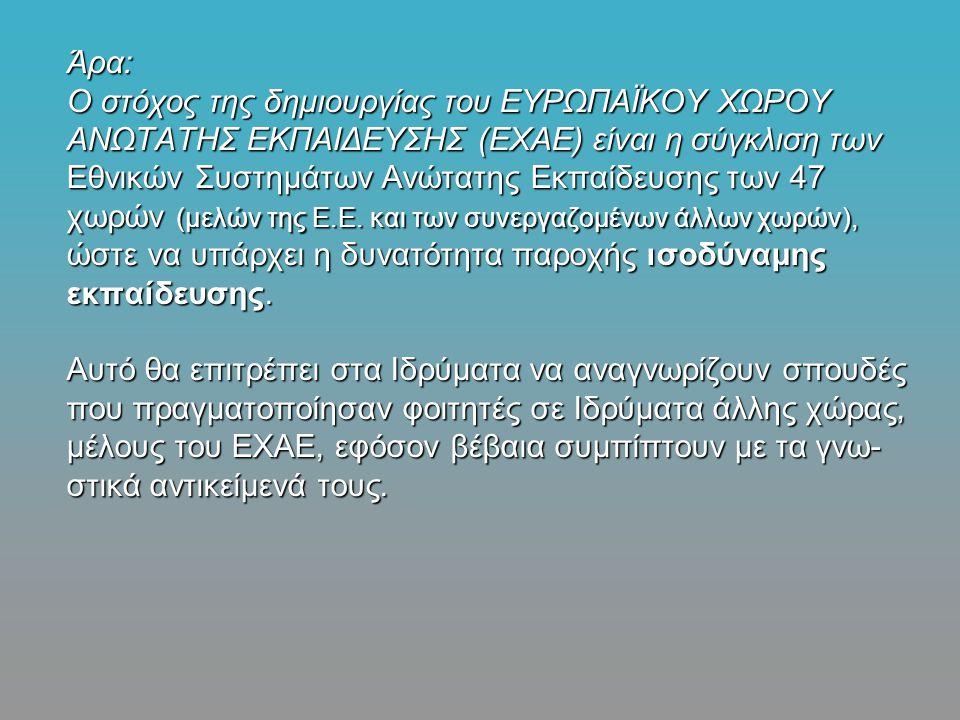Άρα: Ο στόχος της δημιουργίας του ΕΥΡΩΠΑΪΚΟΥ ΧΩΡΟΥ ΑΝΩΤΑΤΗΣ ΕΚΠΑΙΔΕΥΣΗΣ (ΕΧΑΕ) είναι η σύγκλιση των Εθνικών Συστημάτων Ανώτατης Εκπαίδευσης των 47 χωρών (μελών της Ε.Ε.