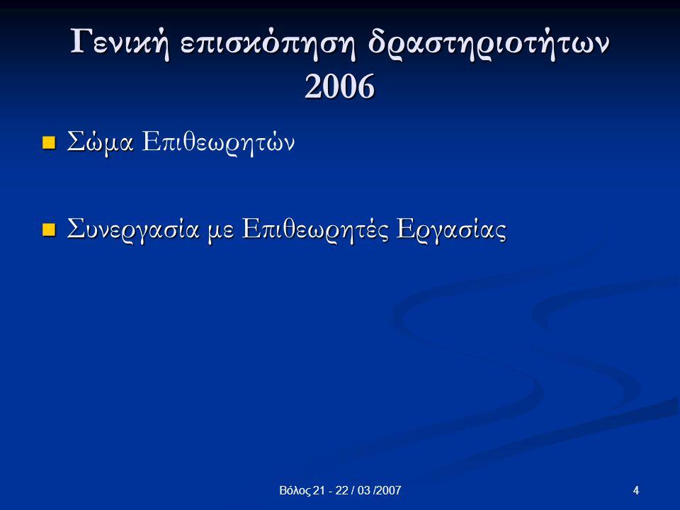 4Βόλος 21 - 22 / 03 /2007 Γενική επισκόπηση δραστηριοτήτων 2006 Σώμα Σώμα Επιθεωρητών Συνεργασία με Επιθεωρητές Εργασίας Συνεργασία με Επιθεωρητές Εργ
