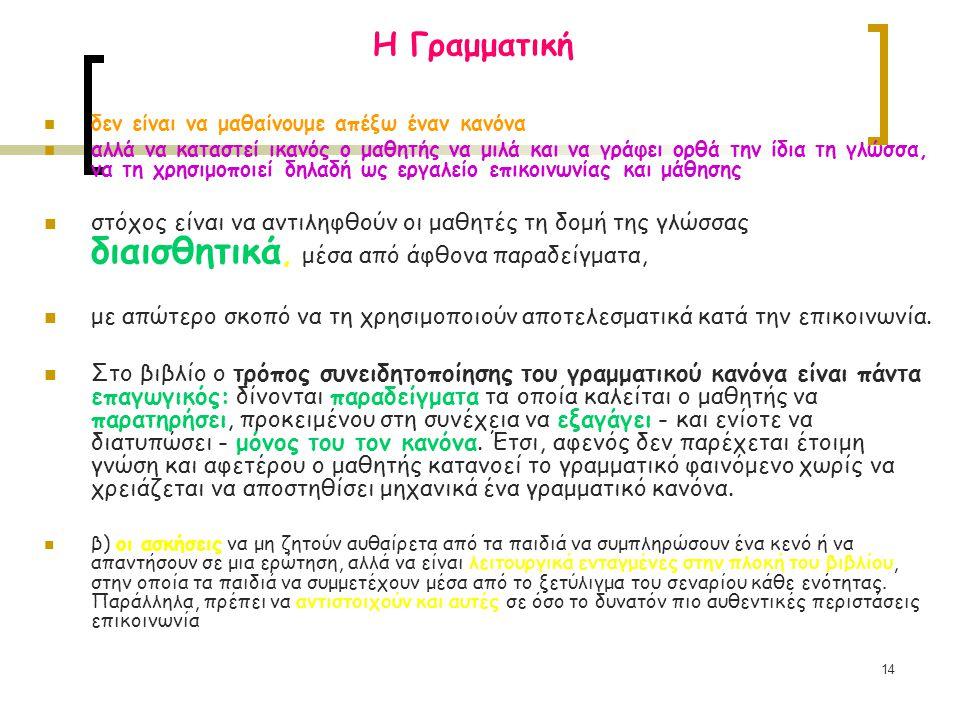 14 Η Γραμματική δεν είναι να μαθαίνουμε απέξω έναν κανόνα αλλά να καταστεί ικανός ο μαθητής να μιλά και να γράφει ορθά την ίδια τη γλώσσα, να τη χρησι