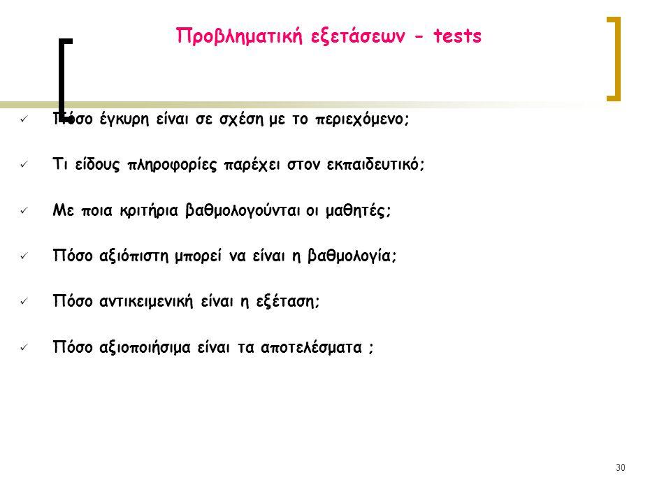 30 Προβληματική εξετάσεων - tests Πόσο έγκυρη είναι σε σχέση με το περιεχόμενο; Τι είδους πληροφορίες παρέχει στον εκπαιδευτικό; Με ποια κριτήρια βαθμολογούνται οι μαθητές; Πόσο αξιόπιστη μπορεί να είναι η βαθμολογία; Πόσο αντικειμενική είναι η εξέταση; Πόσο αξιοποιήσιμα είναι τα αποτελέσματα ;