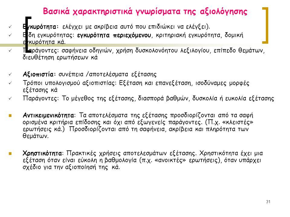 31 Βασικά χαρακτηριστικά γνωρίσματα της αξιολόγησης Εγκυρότητα: ελέγχει με ακρίβεια αυτό που επιδιώκει να ελέγξει). Eίδη εγκυρότητας: εγκυρότητα περιε