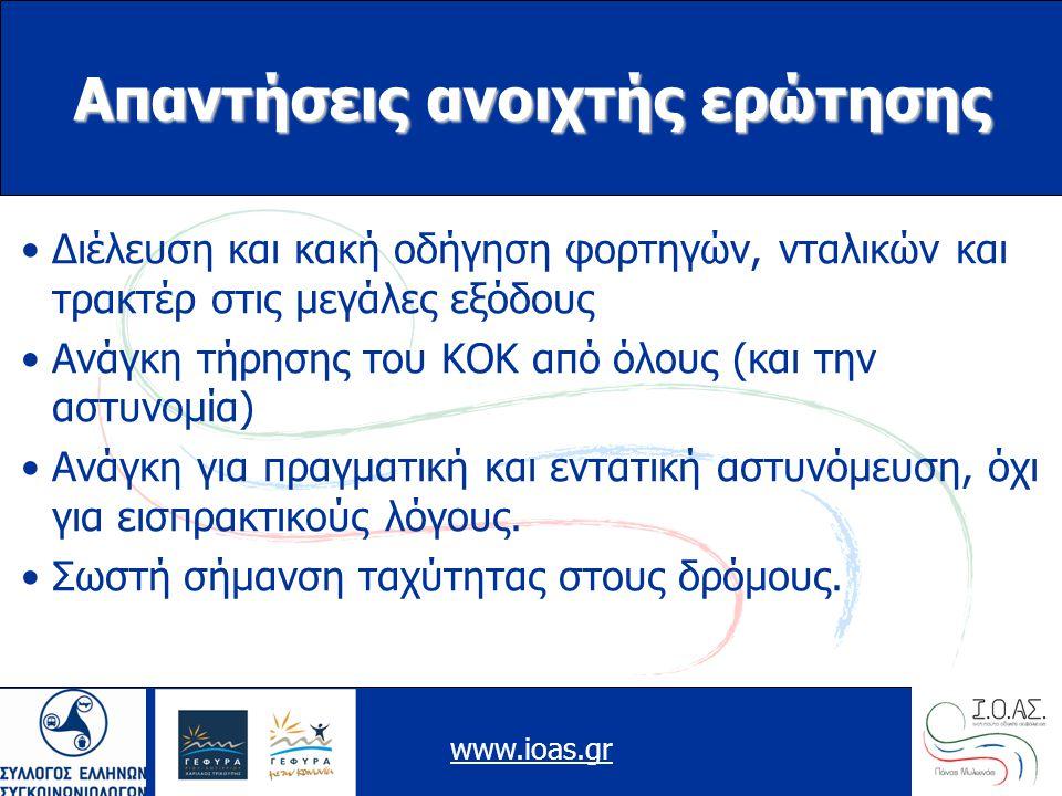 www.ioas.gr Απαντήσεις ανοιχτής ερώτησης Διέλευση και κακή οδήγηση φορτηγών, νταλικών και τρακτέρ στις μεγάλες εξόδους Ανάγκη τήρησης του ΚΟΚ από όλους (και την αστυνομία) Ανάγκη για πραγματική και εντατική αστυνόμευση, όχι για εισπρακτικούς λόγους.