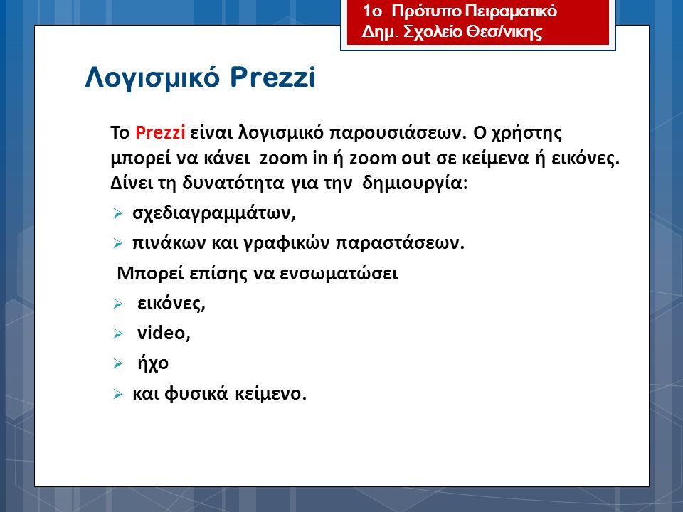 Το Prezzi είναι λογισμικό παρουσιάσεων. Ο χρήστης μπορεί να κάνει zoom in ή zoom out σε κείμενα ή εικόνες. Δίνει τη δυνατότητα για την δημιουργία:  σ