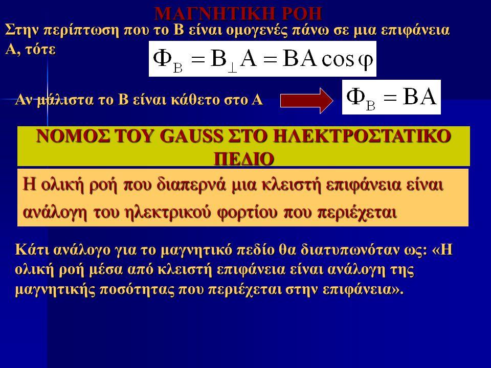 ΜΑΓΝΗΤΙΚΗ ΡΟΗ Στην περίπτωση που το Β είναι ομογενές πάνω σε μια επιφάνεια Α, τότε Αν μάλιστα το Β είναι κάθετο στο Α Η ολική ροή που διαπερνά μια κλε