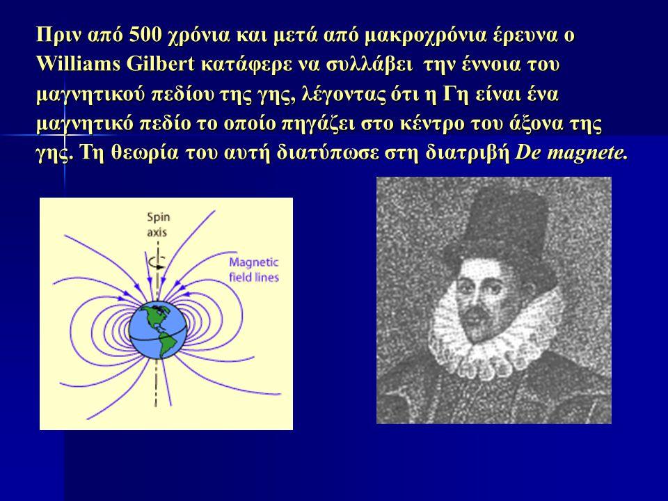 Πριν από 500 χρόνια και μετά από μακροχρόνια έρευνα ο Williams Gilbert κατάφερε να συλλάβει την έννοια του μαγνητικού πεδίου της γης, λέγοντας ότι η Γ