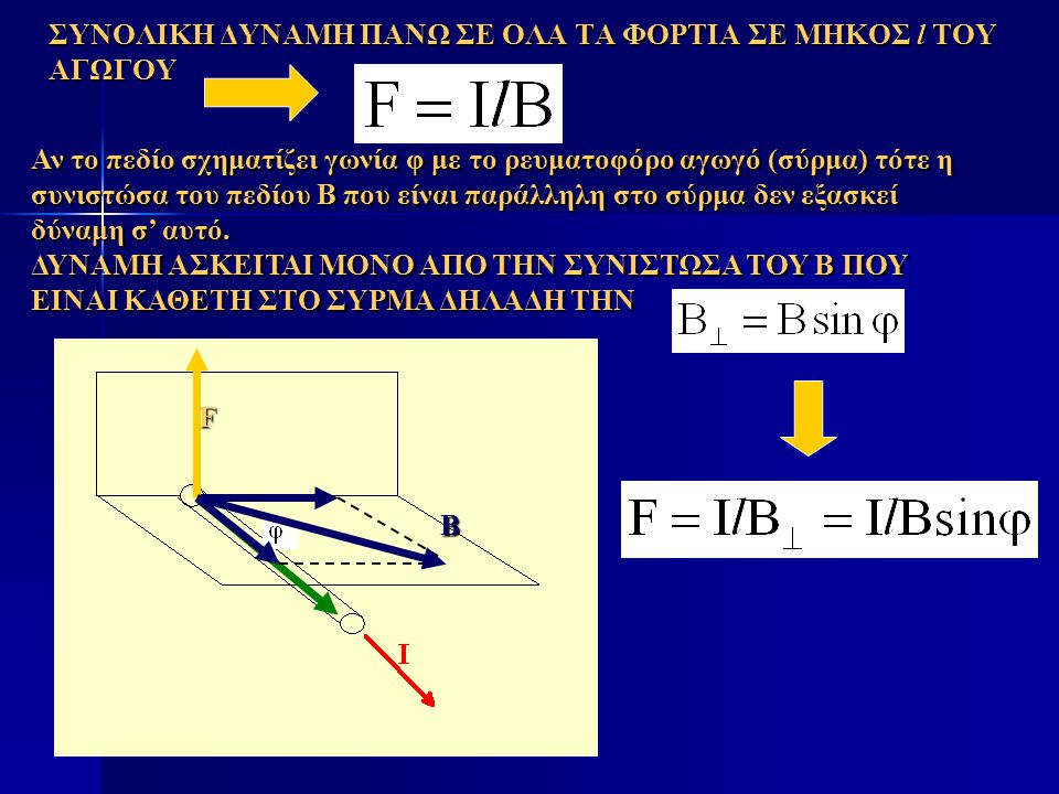 ΣΥΝΟΛΙΚΗ ΔΥΝΑΜΗ ΠΑΝΩ ΣΕ ΟΛΑ ΤΑ ΦΟΡΤΙΑ ΣΕ ΜΗΚΟΣ l ΤΟΥ ΑΓΩΓΟΥ Αν το πεδίο σχηματίζει γωνία φ με το ρευματοφόρο αγωγό (σύρμα) τότε η συνιστώσα του πεδίου