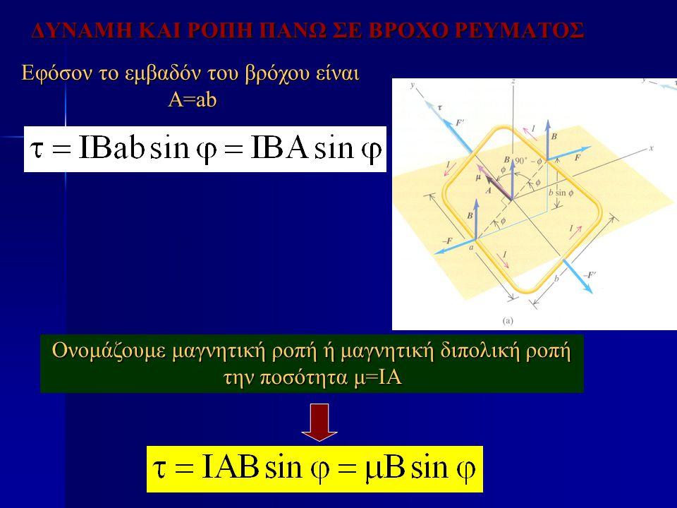 ΔΥΝΑΜΗ ΚΑΙ ΡΟΠΗ ΠΑΝΩ ΣΕ ΒΡΟΧΟ ΡΕΥΜΑΤΟΣ Εφόσον το εμβαδόν του βρόχου είναι A=ab Ονομάζουμε μαγνητική ροπή ή μαγνητική διπολική ροπή την ποσότητα μ=ΙΑ