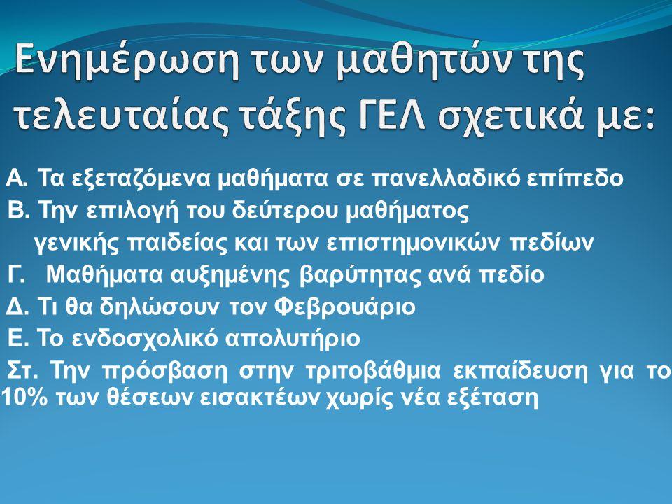 ΑΙΤΗΣΗ-ΔΗΛΩΣΗ(Φεβρουαρίου) Οι μαθητές θα υποβάλουν στο σχολείο τους ΑΙΤΗΣΗ-ΔΗΛΩΣΗ θα δηλώσουν: i) το δεύτερο μάθημα γενικής παιδείας που θα εξεταστούν πανελλαδικά ii) αν θα εξεταστούν πανελλαδικά και στις Αρχές Οικονομικής Θεωρίας iii) αν θα εξεταστούν σε κάποιο/α από τα ειδικά μαθήματα (ξένες γλώσσες, σχέδια, μουσική) iv) αν επιθυμούν να είναι υποψήφιοι για τις Στρατιωτικές Σχολές (δεν έχουν δικαίωμα οι υποψήφιοι των Εσπερινών ΓΕΛ) v) αν επιθυμούν να είναι υποψήφιοι για τις Σχολές των Ακαδημιών Εμπορικού Ναυτικού vi) αν επιθυμούν να είναι υποψήφιοι για τα Τμήματα Επιστήμης Φυσικής Αγωγής και Αθλητισμού (ΤΕΦΑΑ).