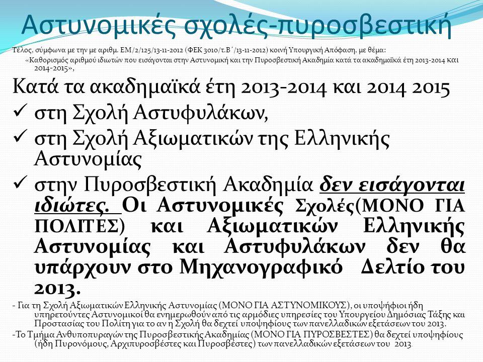 Αστυνομικές σχολές-πυροσβεστική Τέλος, σύμφωνα με την με αριθμ. ΕΜ/2/125/13-11-2012 (ΦΕΚ 3010/τ.Β΄/13-11-2012) κοινή Υπουργική Απόφαση, με θέμα: «Καθο