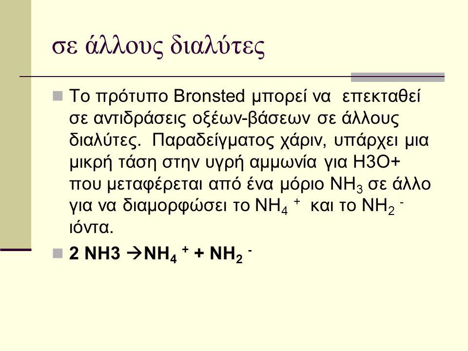σε άλλους διαλύτες Το πρότυπο Brοnsted μπορεί να επεκταθεί σε αντιδράσεις οξέων-βάσεων σε άλλους διαλύτες. Παραδείγματος χάριν, υπάρχει μια μικρή τάση