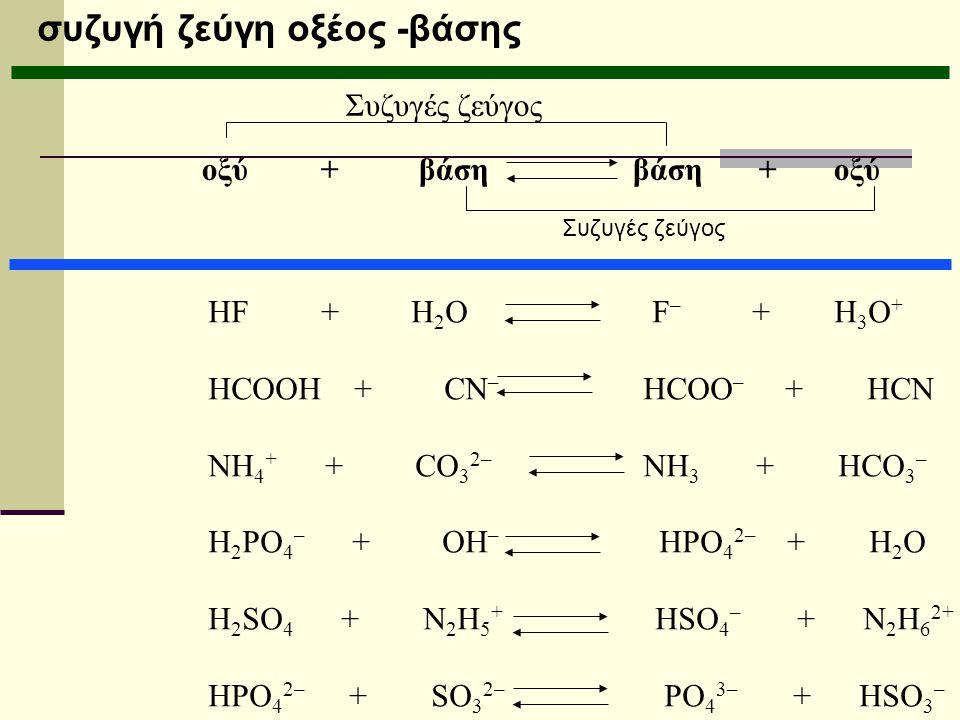 συζυγή ζεύγη οξέος -βάσης οξύ + βάση βάση + οξύ Συζυγές ζεύγος HF + H 2 O F – + H 3 O + HCOOH + CN – HCOO – + HCN NH 4 + + CO 3 2– NH 3 + HCO 3 – H 2