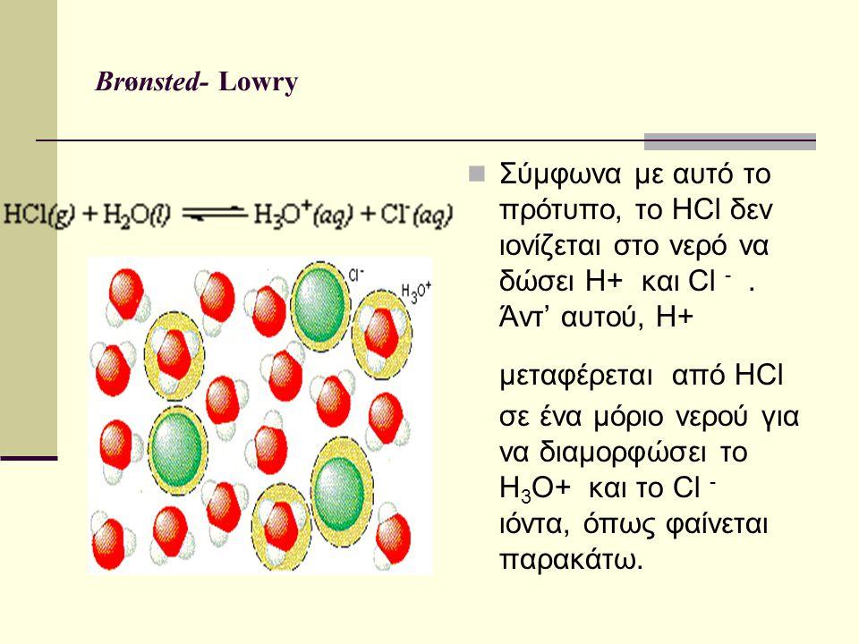 Brønsted- Lowry Σύμφωνα με αυτό το πρότυπο, το HCl δεν ιονίζεται στο νερό να δώσει H+ και Cl -. Άντ' αυτού, H+ μεταφέρεται από HCl σε ένα μόριο νερού