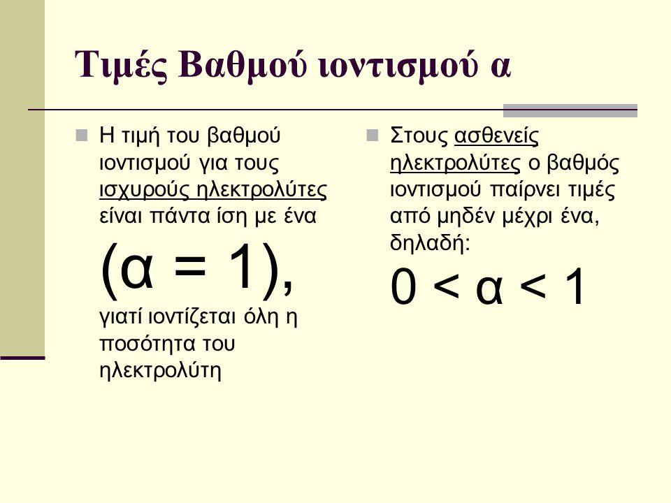 Τιμές Βαθμού ιοντισμού α Η τιμή του βαθμού ιοντισμού για τους ισχυρούς ηλεκτρολύτες είναι πάντα ίση με ένα (α = 1), γιατί ιοντίζεται όλη η ποσότητα το