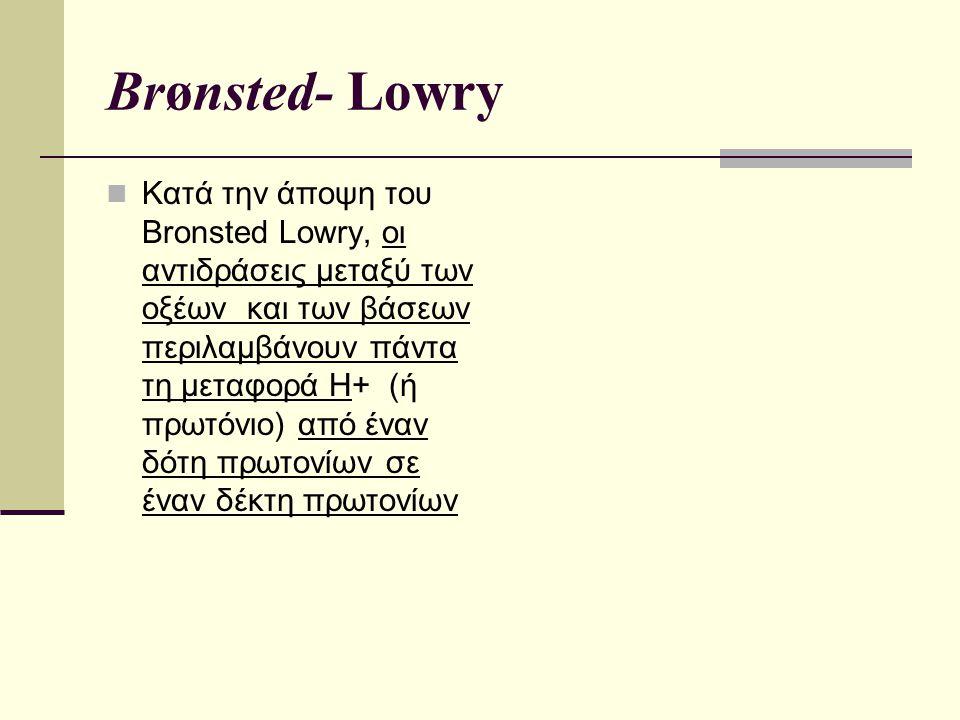 Brønsted- Lowry Κατά την άποψη του Brοnsted Lowry, οι αντιδράσεις μεταξύ των οξέων και των βάσεων περιλαμβάνουν πάντα τη μεταφορά Η+ (ή πρωτόνιο) από