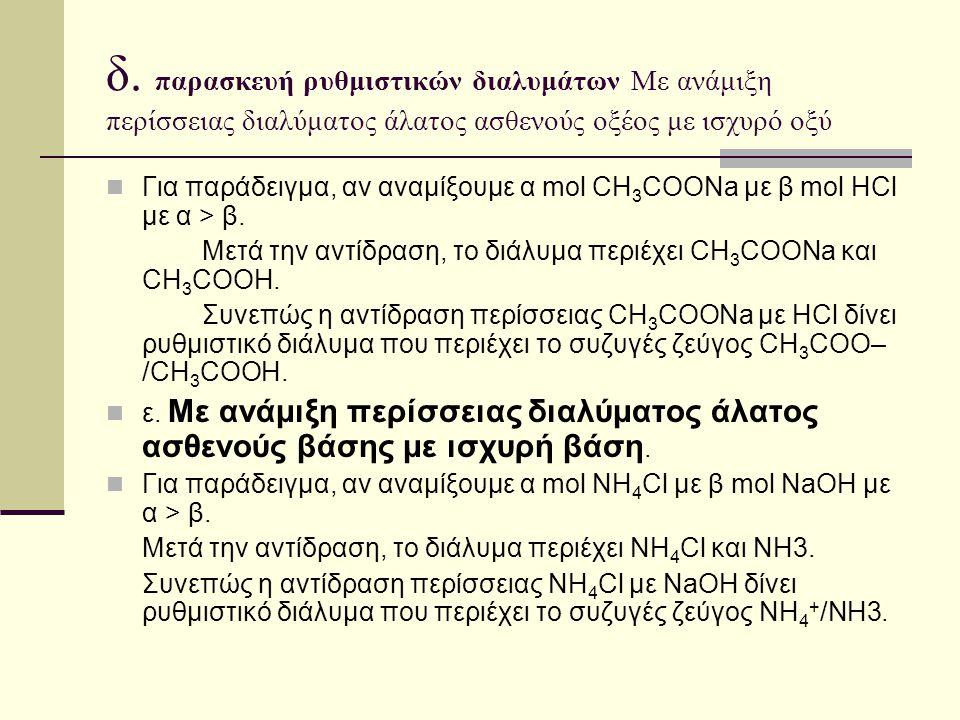 δ. παρασκευή ρυθμιστικών διαλυμάτων Με ανάμιξη περίσσειας διαλύματος άλατος ασθενούς οξέος με ισχυρό οξύ Για παράδειγμα, αν αναμίξουμε α mol CH 3 COON