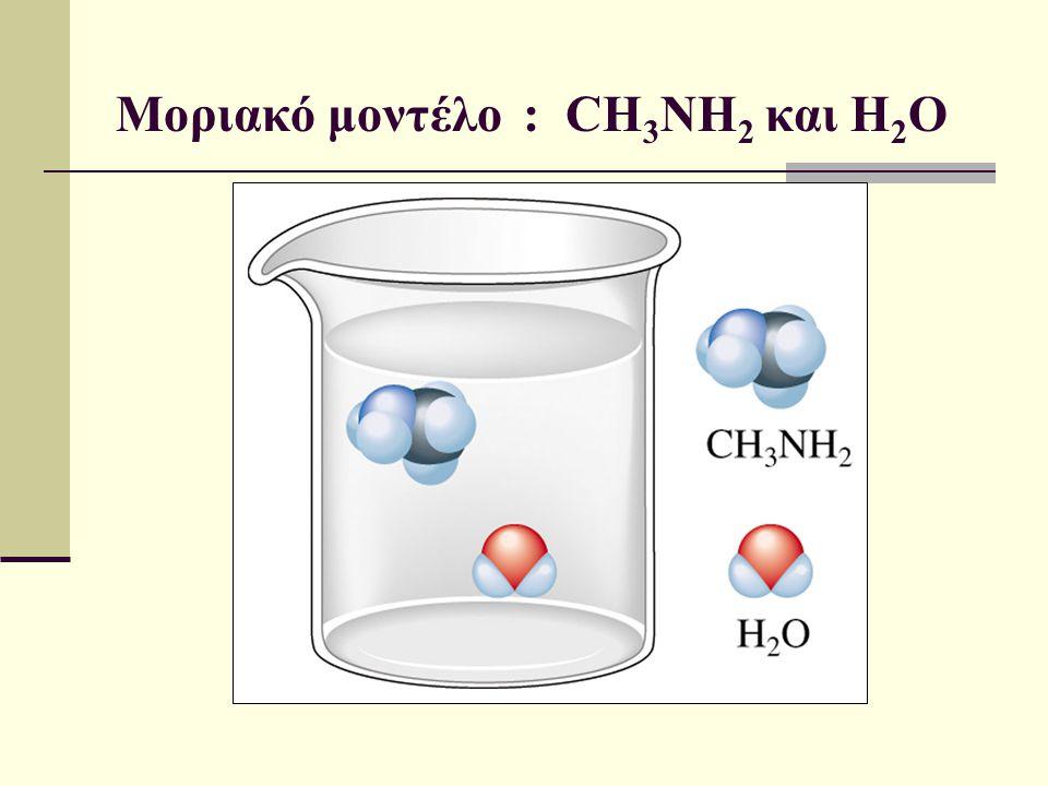 Μοριακό μοντέλο : CH 3 NH 2 και H 2 O