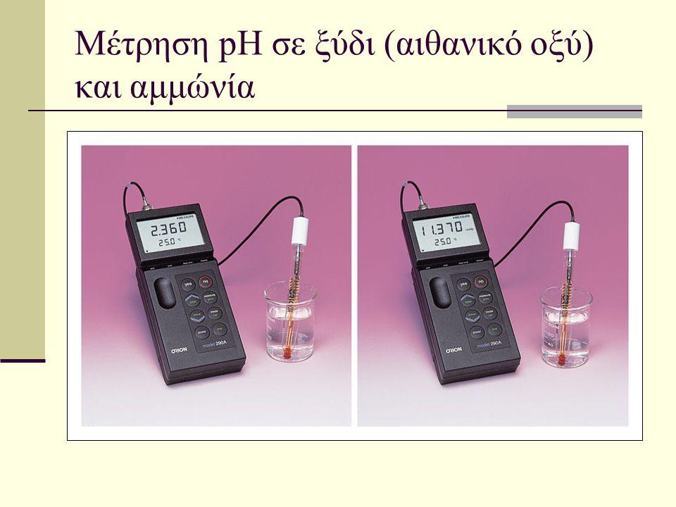 Μέτρηση pH σε ξύδι (αιθανικό οξύ) και αμμώνία