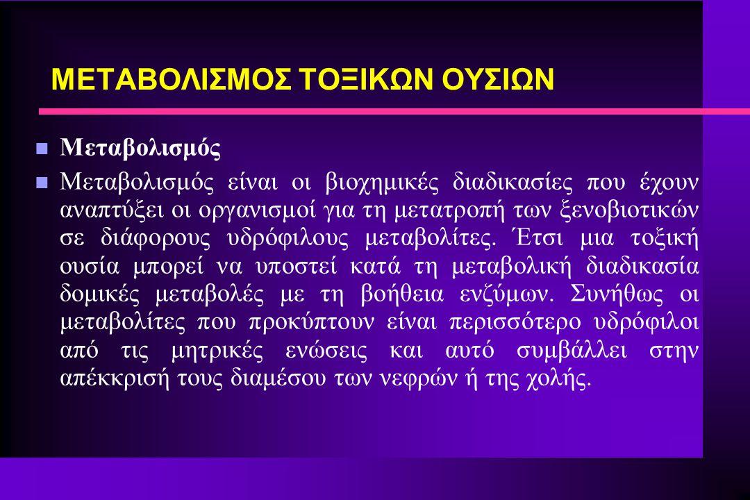 n Μεταβολισμός n Μεταβολισμός είναι οι βιοχημικές διαδικασίες που έχουν αναπτύξει οι οργανισμοί για τη μετατροπή των ξενοβιοτικών σε διάφορους υδρόφιλ
