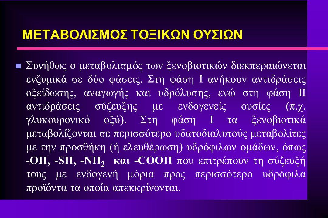 n Συνήθως ο μεταβολισμός των ξενοβιοτικών διεκπεραιώνεται ενζυμικά σε δύο φάσεις. Στη φάση Ι ανήκουν αντιδράσεις οξείδωσης, αναγωγής και υδρόλυσης, εν
