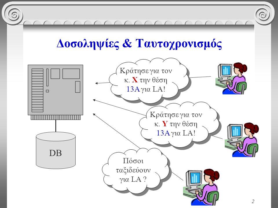 23 Ατομικότητα A: 150 € B: 200 € A: 100 € B: 200 € A+B=350A+B=300 1.read(A); 2.A := A - 50; 3.write(A);
