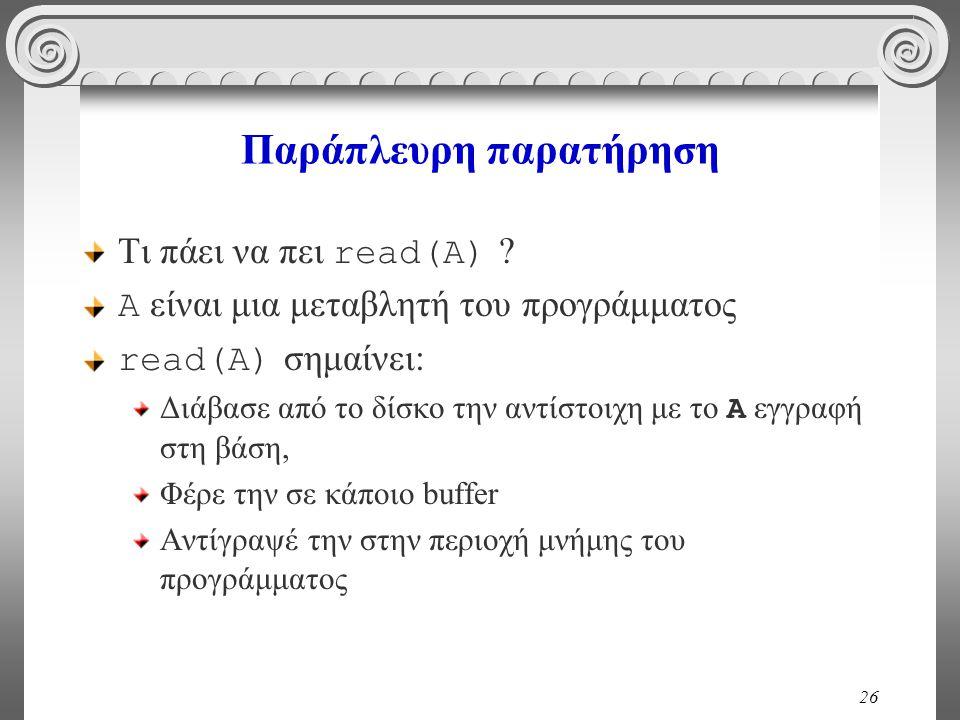 26 Παράπλευρη παρατήρηση Τι πάει να πει read(A) ? A είναι μια μεταβλητή του προγράμματος read(A) σημαίνει: Διάβασε από το δίσκο την αντίστοιχη με το A