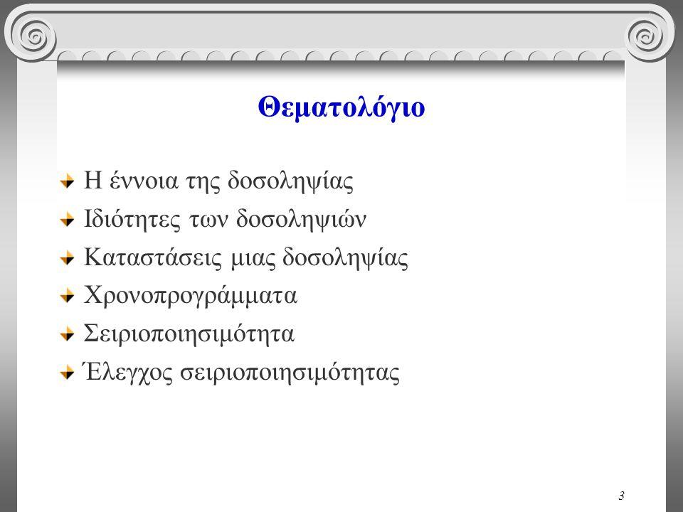 24 Ατομικότητα A: 150 € B: 200 € A: 100 € B: 200 € A+B=350A+B=300 read(A); A := A - 50; write(A); --CRASH-- read(B); B := B + 50; write(B).