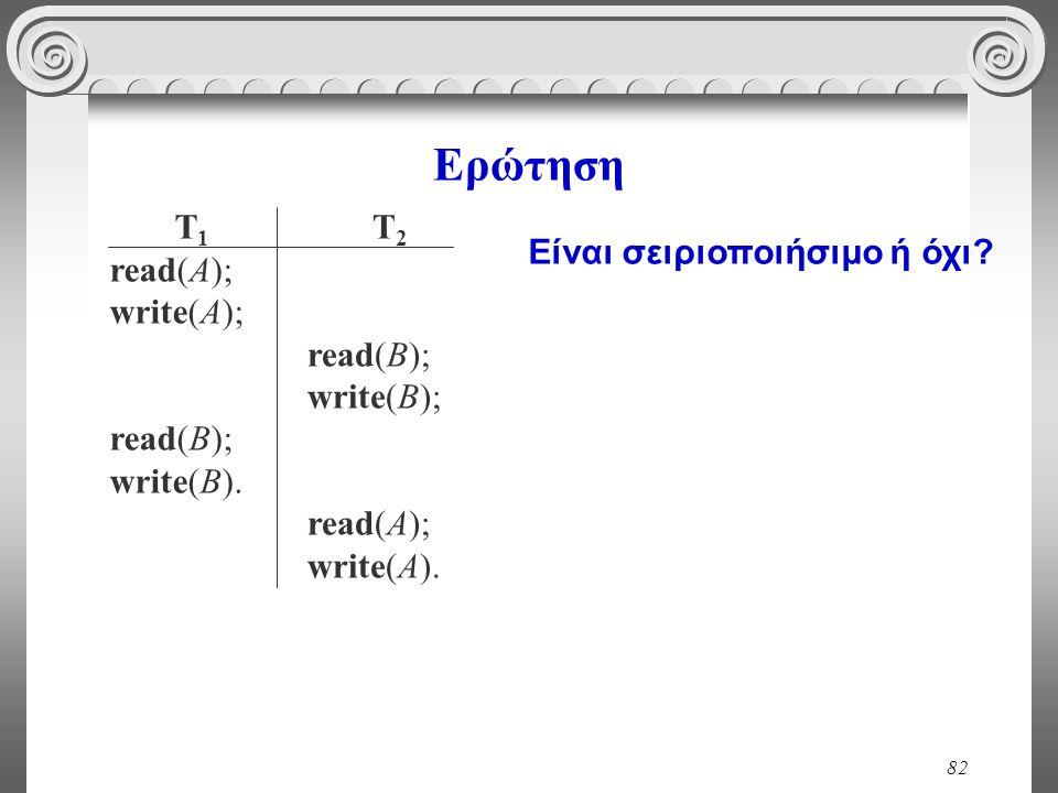82 Ερώτηση T 1 read(A); write(A); read(B); write(B). T 2 read(B); write(B); read(A); write(A). Είναι σειριοποιήσιμο ή όχι?