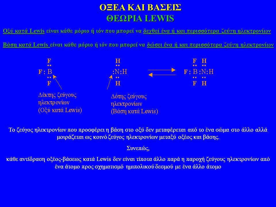 ΟΞΕΑ ΚΑΙ ΒΑΣΕΙΣ ΘΕΩΡΙΑ LEWIS Οξύ κατά Lewis είναι κάθε μόριο ή ιόν που μπορεί να δεχθεί ένα ή και περισσότερα ζεύγη ηλεκτρονίων Βάση κατά Lewis είναι