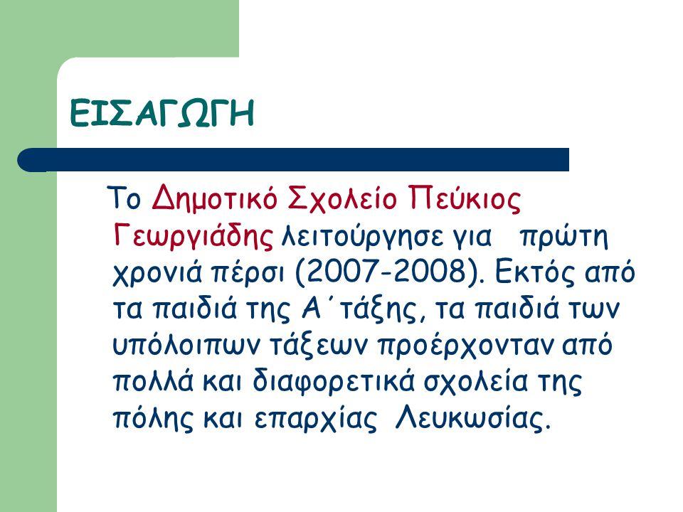 ΕΙΣΑΓΩΓΗ Το Δημοτικό Σχολείο Πεύκιος Γεωργιάδης λειτούργησε για πρώτη χρονιά πέρσι (2007-2008). Εκτός από τα παιδιά της Α΄τάξης, τα παιδιά των υπόλοιπ