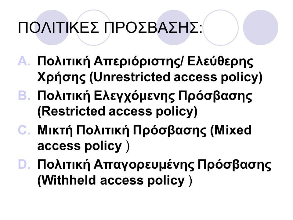 ΠΟΛΙΤΙΚΕΣ ΠΡΟΣΒΑΣΗΣ: A.Πολιτική Απεριόριστης/ Ελεύθερης Χρήσης (Unrestricted access policy) B.Πολιτική Ελεγχόμενης Πρόσβασης (Restricted access policy) C.Μικτή Πολιτική Πρόσβασης (Mixed access policy ) D.Πολιτική Απαγορευμένης Πρόσβασης (Withheld access policy )