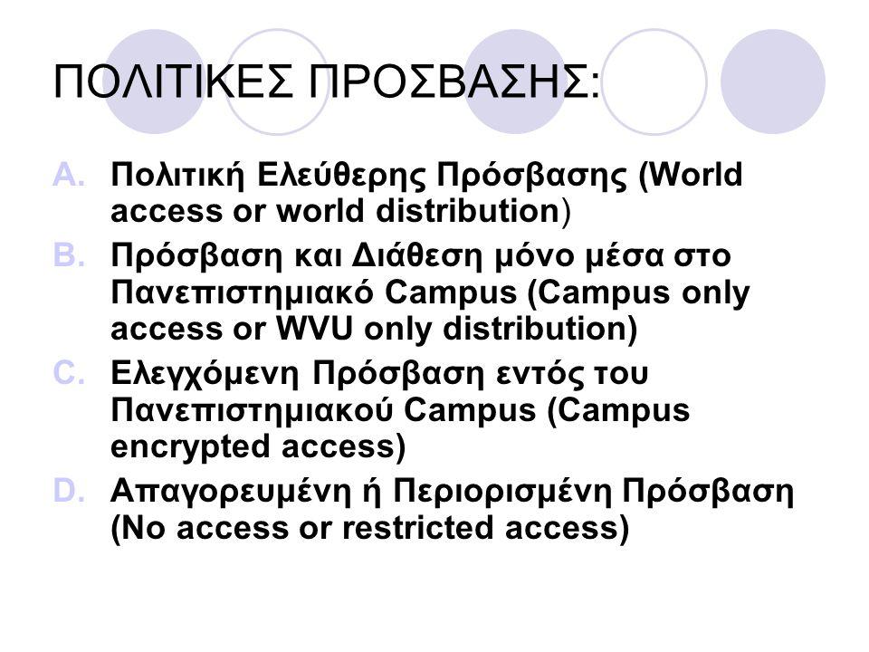 ΠΟΛΙΤΙΚΕΣ ΠΡΟΣΒΑΣΗΣ: A.Πολιτική Ελεύθερης Πρόσβασης (World access or world distribution) B.Πρόσβαση και Διάθεση μόνο μέσα στο Πανεπιστημιακό Campus (Campus only access or WVU only distribution) C.Ελεγχόμενη Πρόσβαση εντός του Πανεπιστημιακού Campus (Campus encrypted access) D.Απαγορευμένη ή Περιορισμένη Πρόσβαση (No access or restricted access)