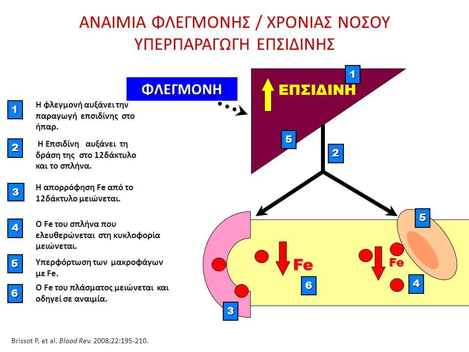 ΑΝΑΙΜΙΑ ΦΛΕΓΜΟΝΗΣ / ΧΡΟΝΙΑΣ ΝΟΣΟΥ ΥΠΕΡΠΑΡΑΓΩΓΗ ΕΠΣΙΔΙΝΗΣ Fe Fe 1 Η φλεγμονή αυξάνει την παραγωγή επσιδίνης στο ήπαρ. 3 Η απορρόφηση Fe από το 12δάκτυλ
