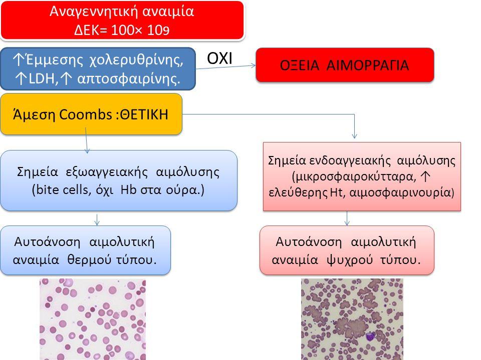 Αναγεννητική αναιμία ΔΕΚ= 100× 10 9 Αναγεννητική αναιμία ΔΕΚ= 100× 10 9 ↑Έμμεσης χολερυθρίνης, ↑LDH,↑ απτοσφαιρίνης. Άμεση Coombs :ΘΕΤΙΚΗ ΟΞΕΙΑ ΑΙΜΟΡΡ