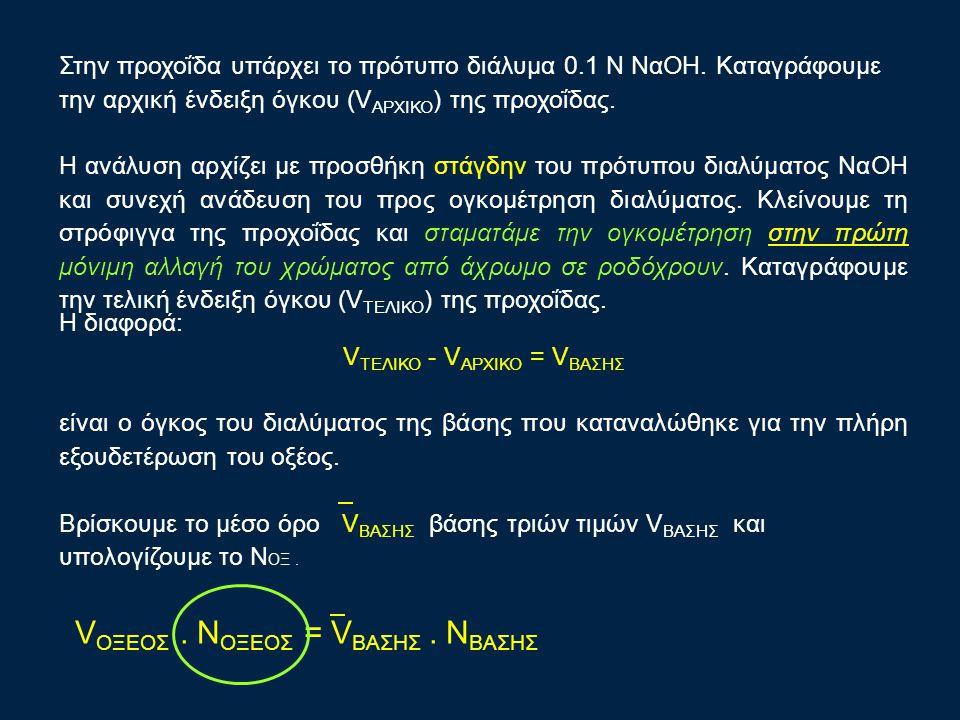 Στην προχοΐδα υπάρχει το πρότυπο διάλυμα 0.1 Ν ΝαΟΗ. Καταγράφουμε την αρχική ένδειξη όγκου (V ΑΡΧΙΚΟ ) της προχοΐδας. Η ανάλυση αρχίζει με προσθήκη στ
