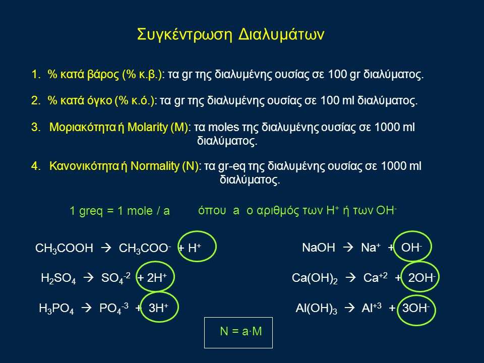 Συγκέντρωση Διαλυμάτων 1. % κατά βάρος (% κ.β.): τα gr της διαλυμένης ουσίας σε 100 gr διαλύματος. 2. % κατά όγκο (% κ.ό.): τα gr της διαλυμένης ουσία